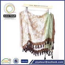 De moda del pañuelo de la bufanda Paisley patrón sólido teñido mantón antiguo Paisley chales