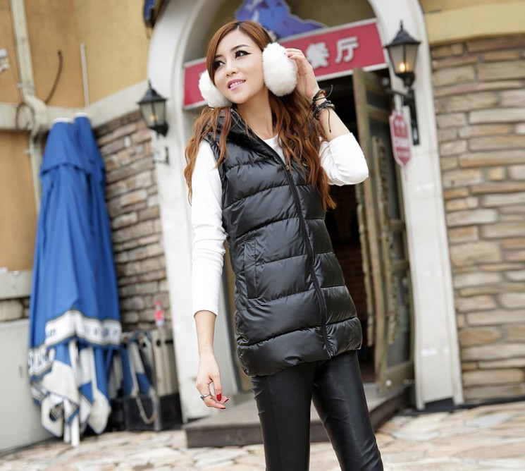 Женский жилет Women vest PU winter 3XL slim AA0073 down cotton vest women