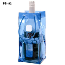 Custom Printed Recyclable Various Fluorescence Color Transparent PVC Plastic Wine Beer Bottle Ice cooler Carrying Bag