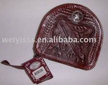 Fashion zippered round cow leather CD case