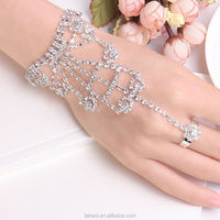 Fashion Brilliant Big Party Women Hand Silver plated Jewelry Crystal Bracelet with Ring