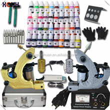 Complete Tattoo Kit 2 Guns Machines 40 Colors Ink Sets 50 Pieces Disposable Needles Power Supply