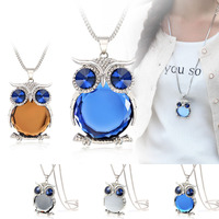 >>>4 Colors New Owl Necklace Top Quality Rhinestone Crystal Pendant Necklaces Classic Animal Long Necklace Jewelry For Women