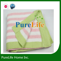 Pink stripe cotton knit kids blanket with green edge for girl