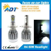 New!!! Car LED Headlight 80W 6000LM Auto LED headlight H4 High Bright motorcycle accessories