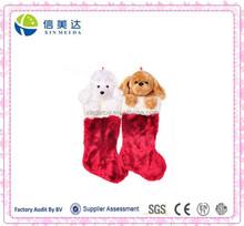 Christmas Hot Seller Plush Classic Red Socks Hiden Stuffed Dog