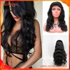 Unprocessed Brazilian Body Wave Human Virgin Hair Full Lace Wig With Bangs For Black Women