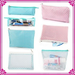 New style pvc wholesale mesh bag with zipper - cosmetic bags for ladies