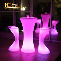 outdoor furniture led round bar table ,plastic high table,led cocktail tables