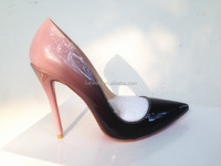 Changeable Nude and Black Patent Leather High Heel Pumps for Women Famous Branded Designder Heels