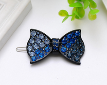Wholesale Gradient Blue Crystal Plastic Bowknot Hair Slide Hairpins For Thin Hair