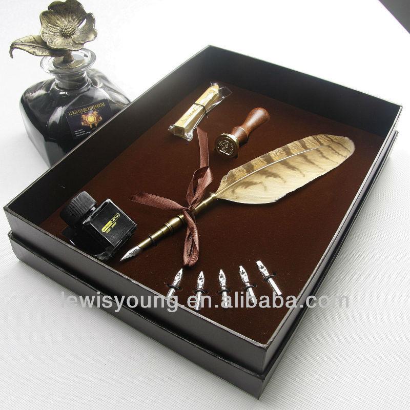 Exquisita pluma pluma de tinta& conjunto inicial con sello de cera sello