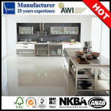 SK163 mdf vinyl wrap hanging kitchen cabinet design from china kitchen cabinet supplier