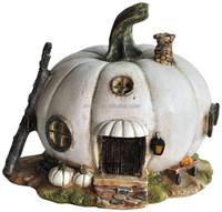 Miniature White Pumpkin Resin Fairy House