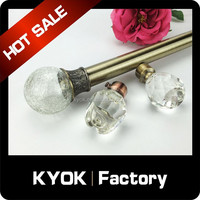 KYOK New design Curtain rod finials ,crystal glass finials for curtain rods ,nostalgia Antique Brass Curtain Rod Finials
