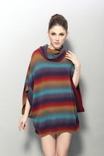 Mesdames tricot ordinateur coloré. pull poncho pull col haut de laine acrylique