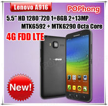 1GB RAM Octa Core 5.5 inch 1280*720 Dual SIM LTE 4G Phone 13.0MP Camera Android 4.4 Lenovo A916 Multi Language