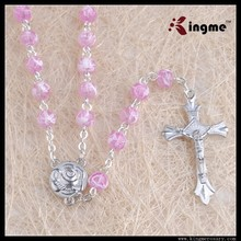 Newest design pink 6mm rosary necklace glass beads catholic rosary for women