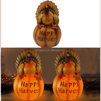 resin turkey pumpkin statue with solar for autumn harvest festival decoration