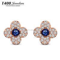 T400 cruz flower Austrian crystal copper alloy stud earrings