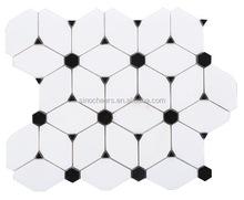 Octagon Dan white marble mixed Hexagon Nero Marquina premium mosaics tile