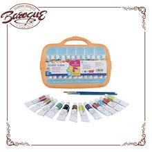 wholesale portable students glass color paint set, fast dry permanent glass painting colours 12 ml