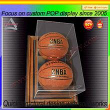 acrylic cube display two basketball wooden base display box