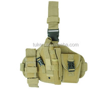 Airsoft Tactical Military Molle Drop Leg Pistol Gun Holster Bag w/ Radio Pouch