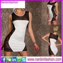 lace white and black sleeveless women bodycon dress
