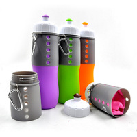 2015 Newest listing High Quality multi Colors Free Shipping Creative Silicone Foldable Sports Bottle Convenient Travel Cups