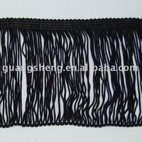 Nice black rayon chainette fringe for clothing