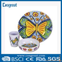 high quality custom design melamine dinnerware set for children