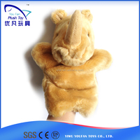 Factory custom kids 26cm stuffed rhino soft animal baby toy hand puppet