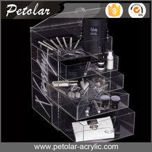 5 drawer transparent cosmetic display case & boxes organizer acrylic makeup storage containers