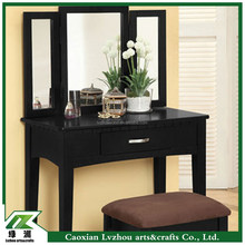european style wood dressing table with full-length mirror,dressing table set