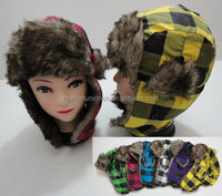 Fashion winter faux fur earflap trapper hat with check pattern
