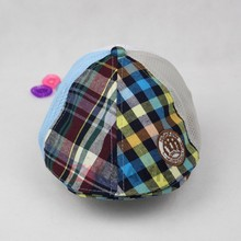 Children checked mesh flat breathable custom casquette cap