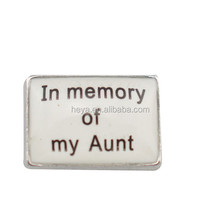 New design floating charms In memory of my Aunt charms hot sale