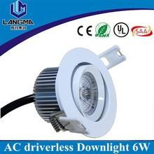 AC220V dimmable 5000k AC cob 6w 80mm OD driverless samsung led downlight