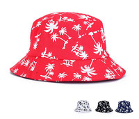 2015 New dome red china cotton flower bucket hat sun hat cap wholesale