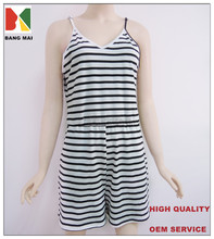 OEM service type woman's striped jumpsuit, sexy V-neck and backless jumpsuit, sleeveless jumpsuit