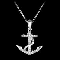 18K Zircon Anchor Pendant Necklace Jewelry N00609-4650