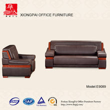 Popular luxurious top grain classic wood frame leather sofa