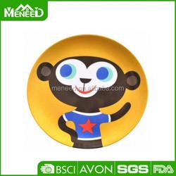 Good quality cartoon monkey printing round kids melamine plates