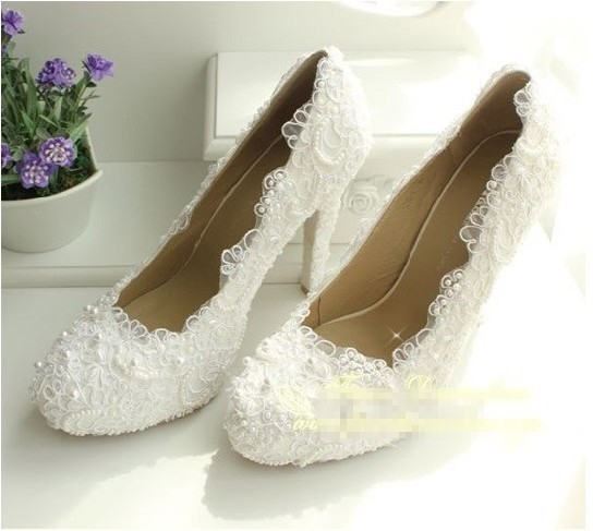 2016 New Luxury Fashion Wedding Dress Shoes Brida Gowns High Heel  Pumps Party Evening shoes  Imitation Pearl Shoe Size 34-40