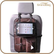 High Quality Multi-function Back Car Seat Luxury Custom Leather Car Organizer Travel Car Organizer with Ipad Holder
