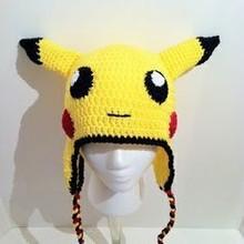 Pikachu crochet malha infantil crianças recém-nascido chapéu do bebê beanie com aleta da orelha