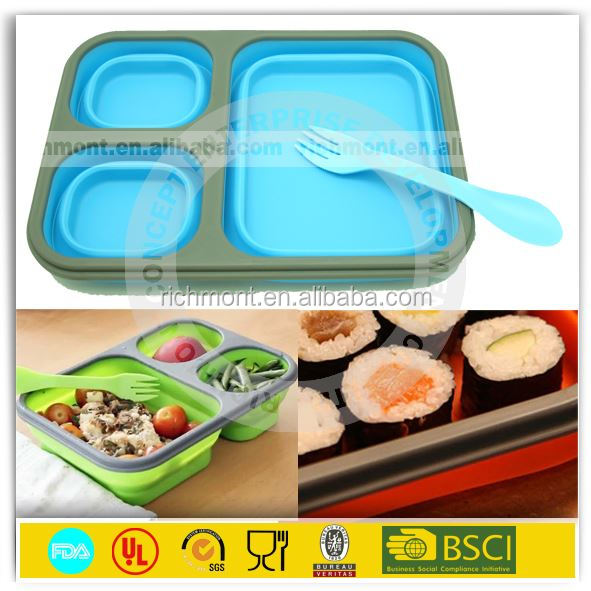 kids collapsible silicone small thermal bento lunch box. Black Bedroom Furniture Sets. Home Design Ideas