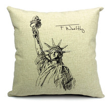 2015 China factory suppliers provide the Statue of Liberty hot sale 100% cotton super soft elegant cotton fabric pillow
