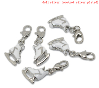 Clip On Charm Roller Skate Silver Tone Enamel White,Fit Link Chain Bracelet 35x13mm,10PCs,Lobster Clasp:12x7mm,Newest